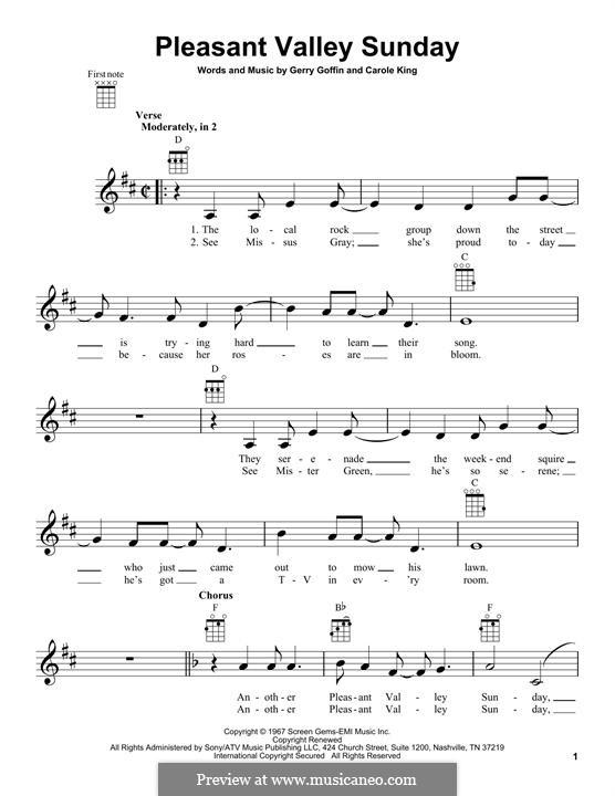 Pleasant Valley Sunday: Für Ukulele by Carole King, Gerry Goffin