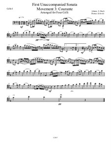 Sechs Suiten für Cello, BWV 1007-1012: Suite No.1: Movement 3 – Courante. Arrangement for four celli, Op.1 by Johann Sebastian Bach