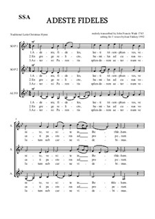 Adeste fideles (O Come, All Ye Faithful): SSA by Unknown (works before 1850)