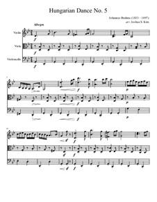 Tanz Nr.5 in fis-Moll: Für Streichtrio by Johannes Brahms