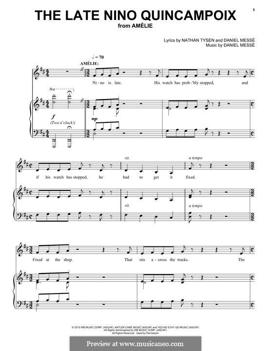 The Late Nino Quincampoix: Für Stimme und Klavier by Daniel Messe