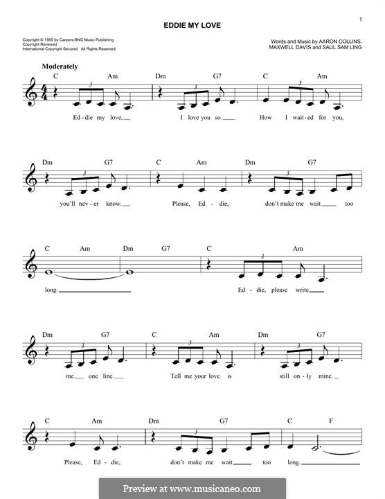Eddie My Love (The Chordettes): Melodische Linie by Aaron Collins, Maxwell Davis, Saul Sam Ling