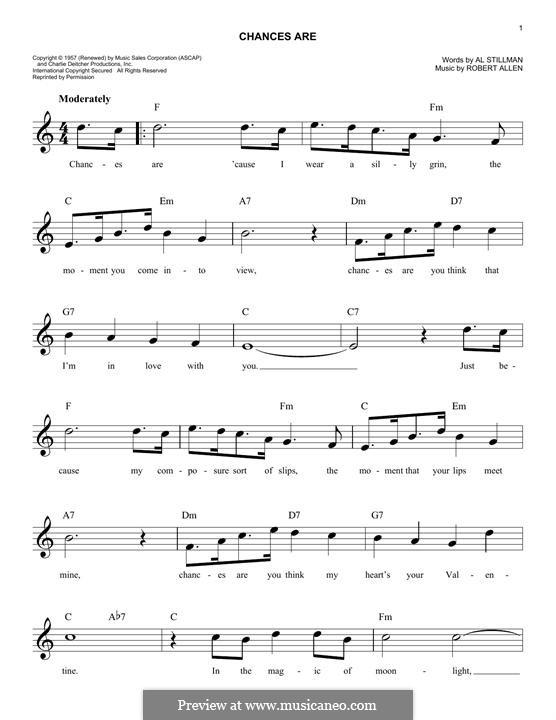 Chances Are (Johnny Mathis): Melodische Linie by Robert Allen