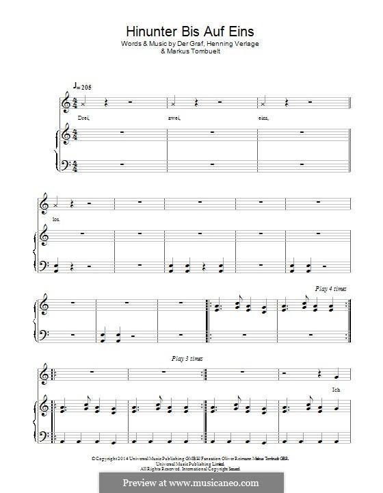 Hinunter Bis Auf Eins (Unheilig): Für Stimme und Klavier (oder Gitarre) by Der Graf, Henning Verlage, Markus Tombuelt