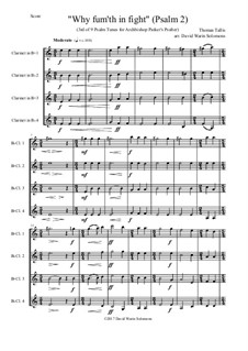Why Fum'th in Sight  (from Nine Tunes for Archbishop Parker's Psalter): For four clarinets by Thomas Tallis