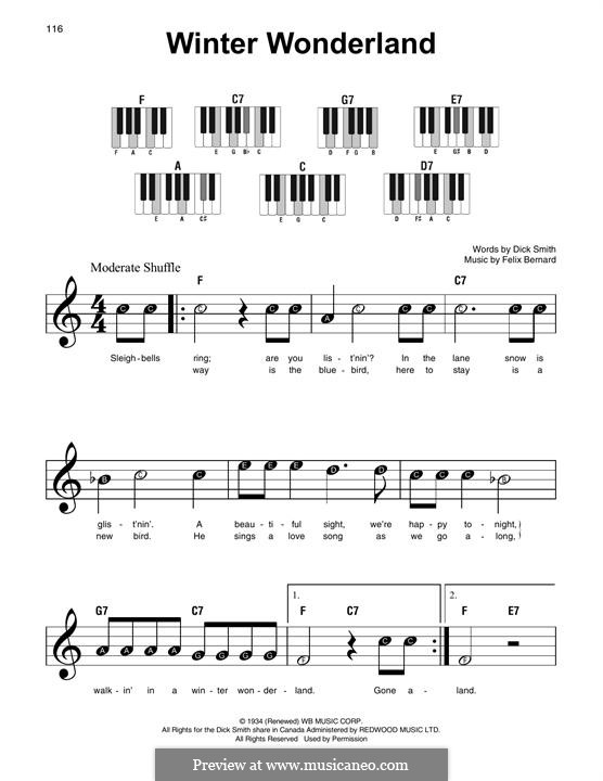 Winter Wonderland, for Piano: Easy version by Felix Bernard