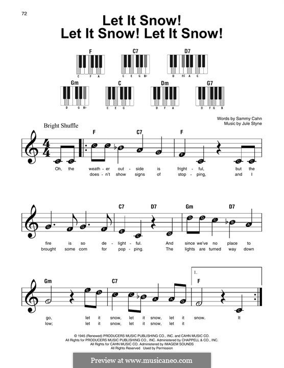 Let It Snow! Let It Snow! Let It Snow!, for Piano: Easy version by Jule Styne
