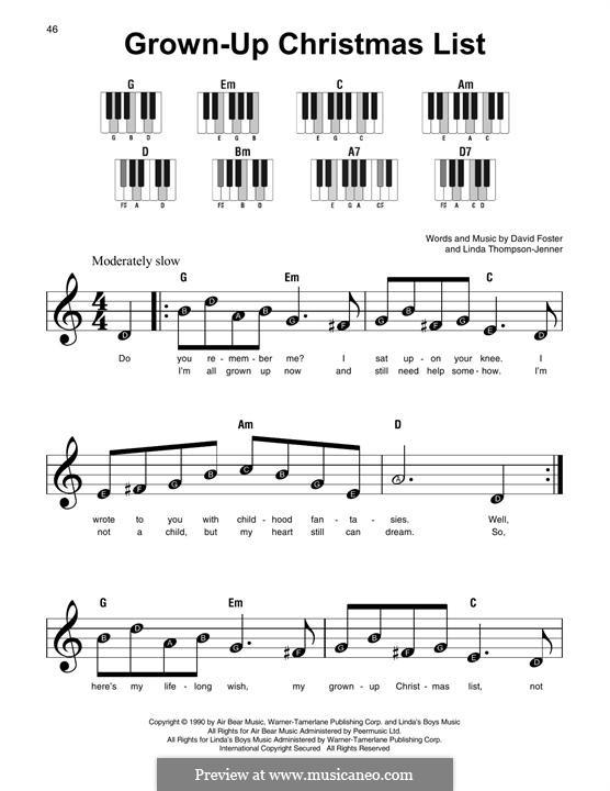 Grown-Up Christmas List: Für Klavier by David Foster, Linda Thompson-Jenner