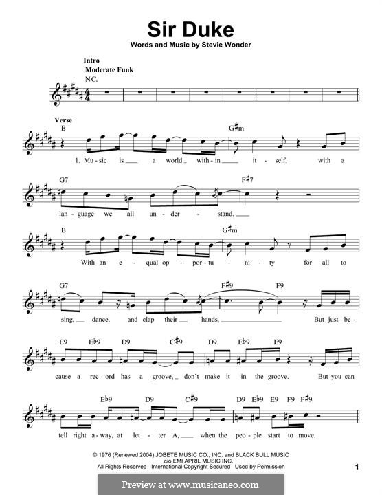 Sir Duke: Melodische Linie by Stevie Wonder
