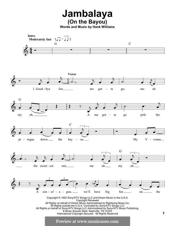 Jambalaya (On the Bayou): Melodische Linie by Hank Williams