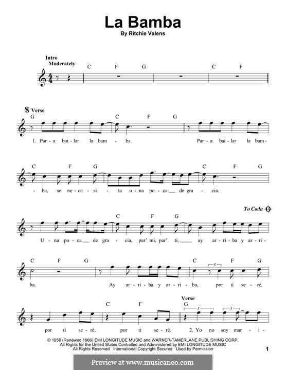 La Bamba: Melodische Linie by folklore, Ritchie Valens