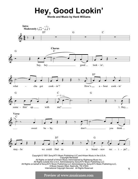 Hey, Good Lookin': Melodische Linie by Hank Williams