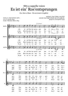 Es ist ein Ros entsprungen: SSA chorus by Unknown (works before 1850)