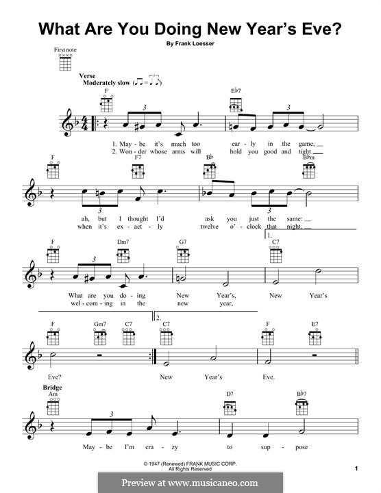 What are You Doing New Year's Eve?: Für Ukulele by Frank Loesser