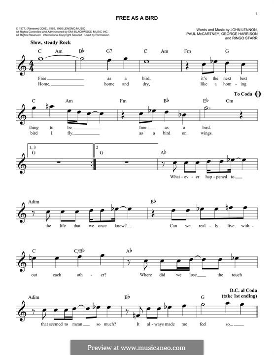 Free as a Bird (The Beatles) : Melodische Linie by John Lennon