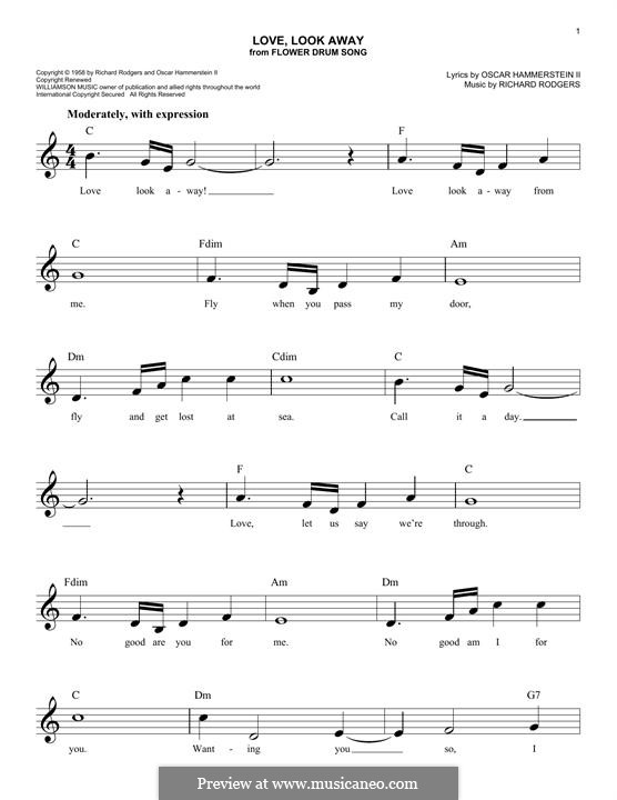 Love, Look Away: Melodische Linie by Richard Rodgers