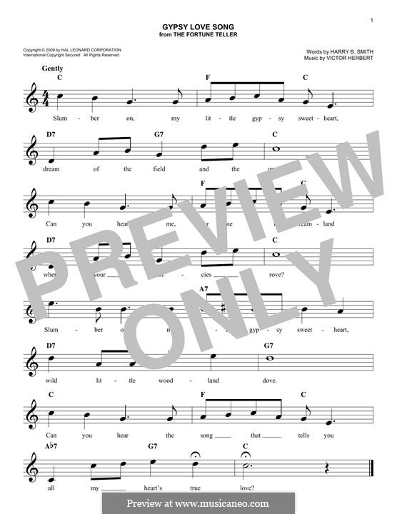 Die Wahrsagerin: Gypsy love song, melody line by Victor Herbert