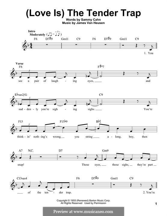 (Love Is) The Tender Trap (Frank Sinatra): Melodische Linie by Jimmy Van Heusen
