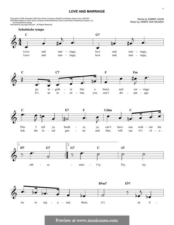 Love and Marriage (Frank Sinatra): Melodische Linie by Jimmy Van Heusen