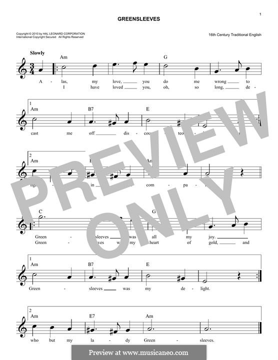 Greensleeves (Printable scores): Melodische Linie by folklore