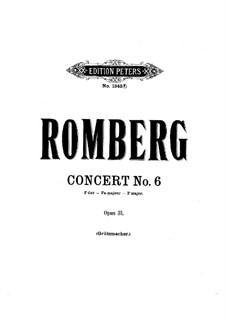 Cellokonzert Nr.6 in F-Dur, Op.31: Version für Cello und Klavier by Bernhard Romberg