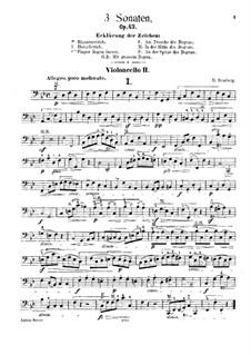 Drei Sonaten für Cello und Basso Continuo, Op.43: Für zwei Cellos – Cellostimme II by Bernhard Romberg