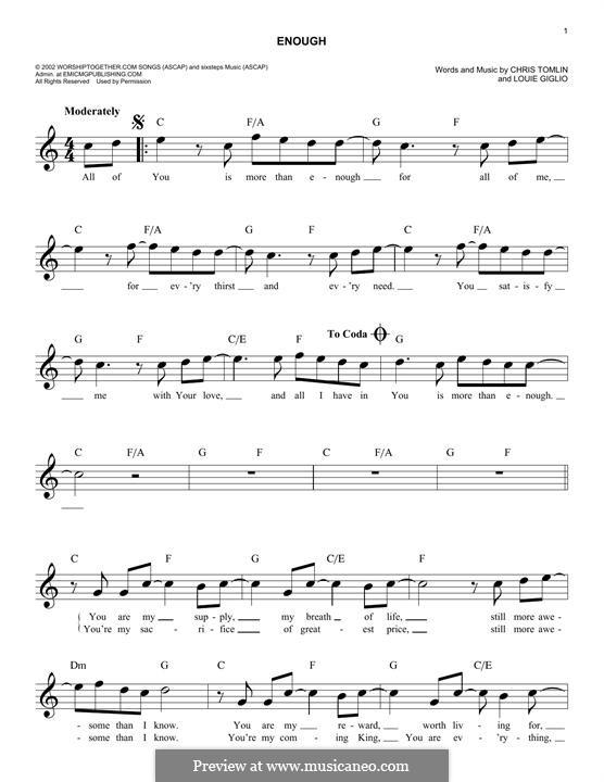 Enough: Melodische Linie by Chris Tomlin, Louie Giglio