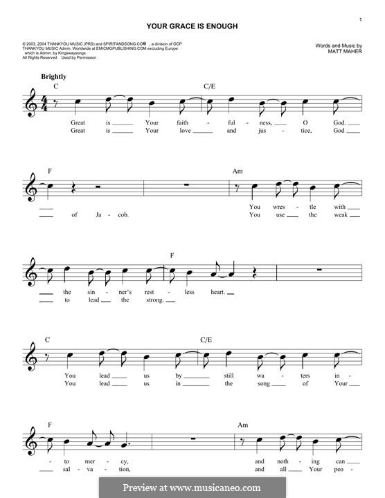 Your Grace is Enough: Melodische Linie by Matt Maher
