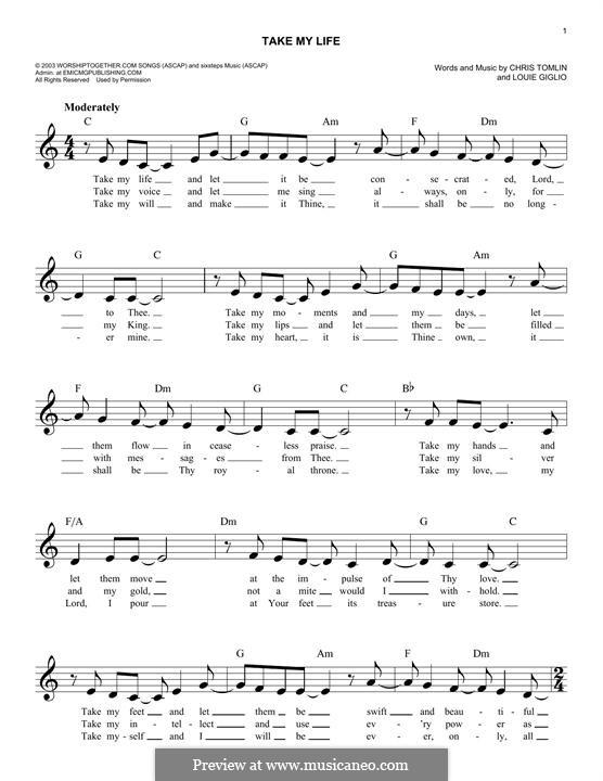 Take My Life: Melodische Linie by Chris Tomlin, Louie Giglio