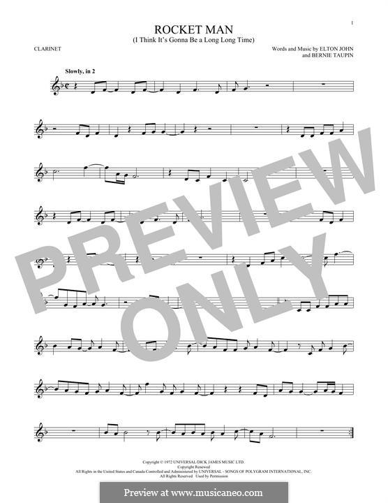 Rocket Man (I Think It's Gonna Be a Long Long Time): Für Klarinette by Elton John