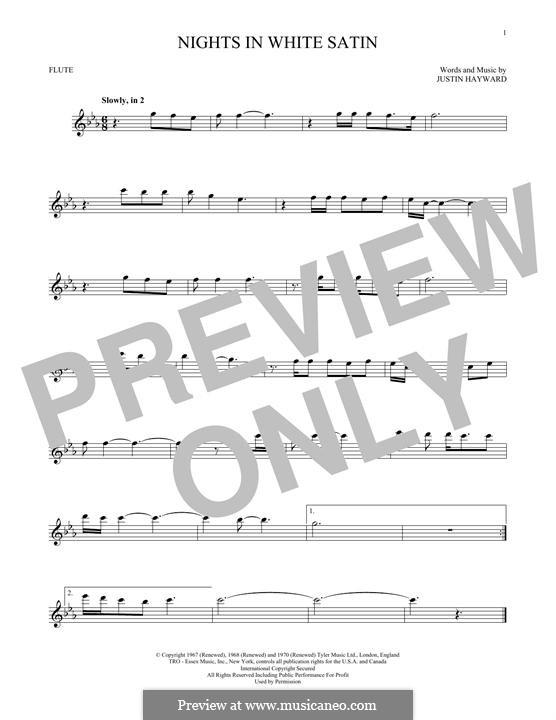 Nights in White Satin (The Moody Blues): Für Flöte by Justin Hayward