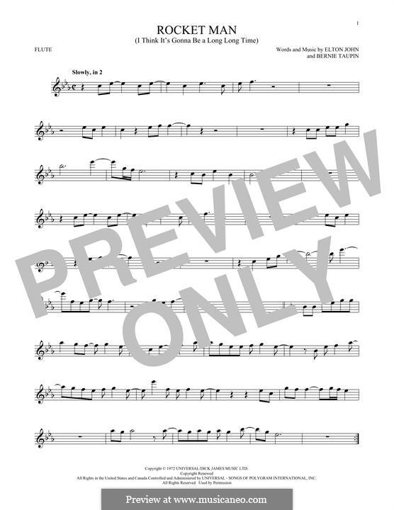 Rocket Man (I Think It's Gonna Be a Long Long Time): Für Flöte by Elton John