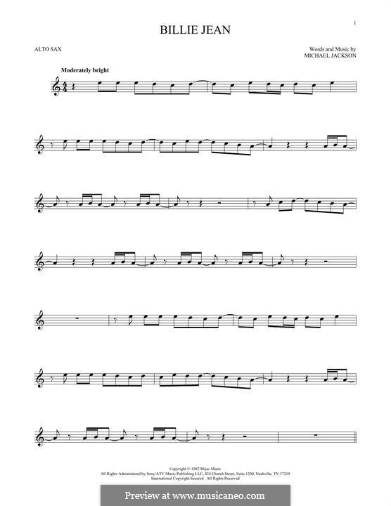 Billie Jean: Für Altsaxophon by Michael Jackson