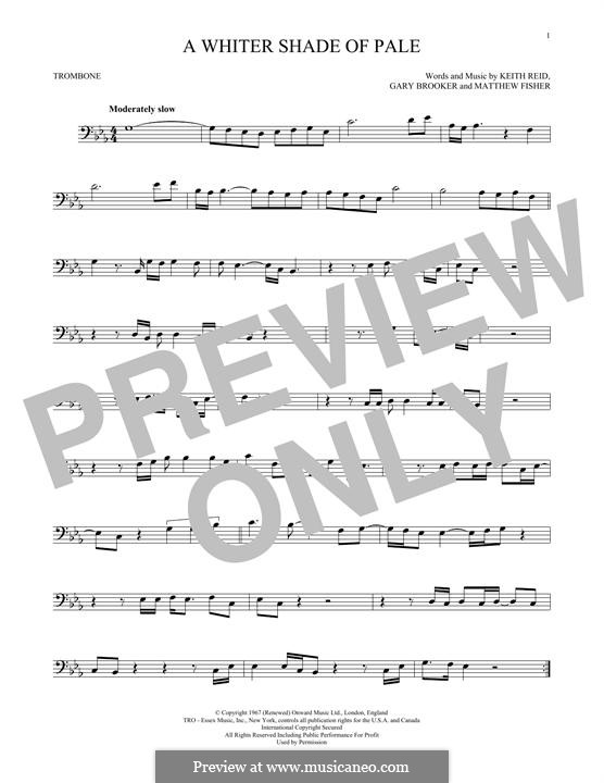 A Whiter Shade of Pale (Procol Harum): For trombone by Gary Brooker