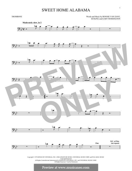 Sweet Home Alabama (Lynyrd Skynyrd): For trombone by Ed King, Gary Rossington, Ronnie Van Zant