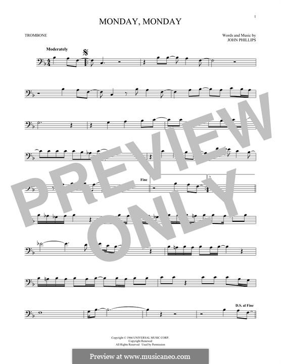 Monday Monday (The Mamas & The Papas): For trombone by John Phillips