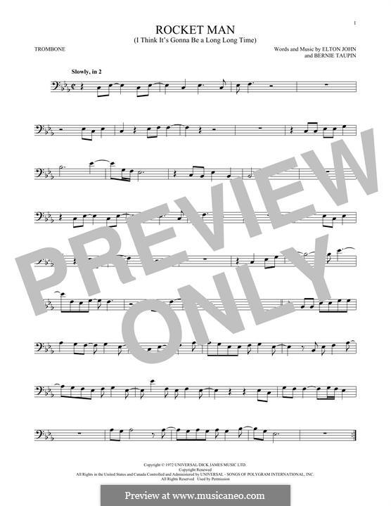 Rocket Man (I Think It's Gonna Be a Long Long Time): For trombone by Elton John