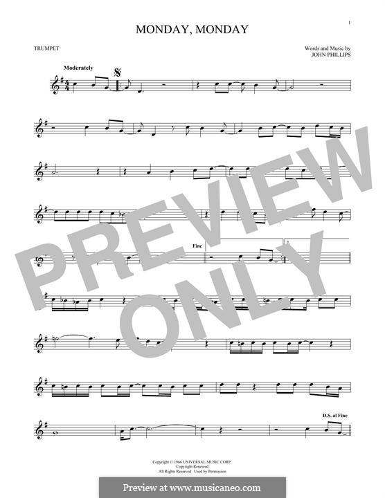 Monday Monday (The Mamas & The Papas): Für Trompete by John Phillips