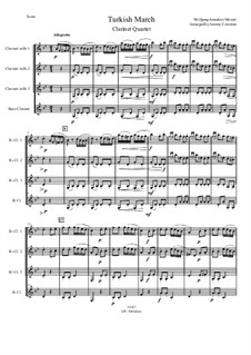 Türkisches Rondo: For clarinet quartet by Wolfgang Amadeus Mozart