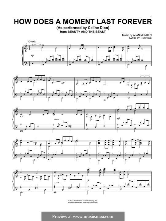 How Does a Moment Last Forever (Celine Dion): Für Klavier by Alan Menken