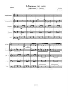 Fragmente: Trinklied, für Brass Quintett – Partitur by Giuseppe Verdi