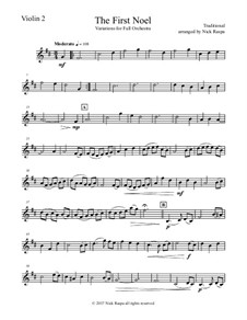 The First Noel. Variations: For full orchestra – violin 2 part by folklore