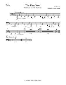 The First Noel. Variations: For full orchestra – tuba part by folklore