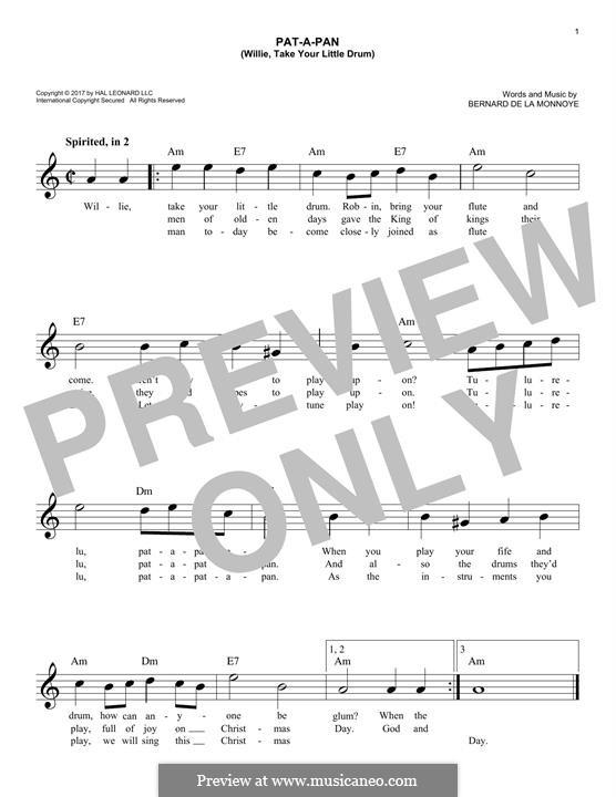 Pat-a-Pan (Willie, Take Your Little Drum): Melodische Linie by Bernard de la Monnoye