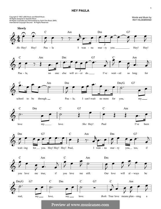 Hey Paula: Melodische Linie by Ray Hildebrand