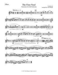 The First Noel. Variations: For full orchestra – oboe part by folklore