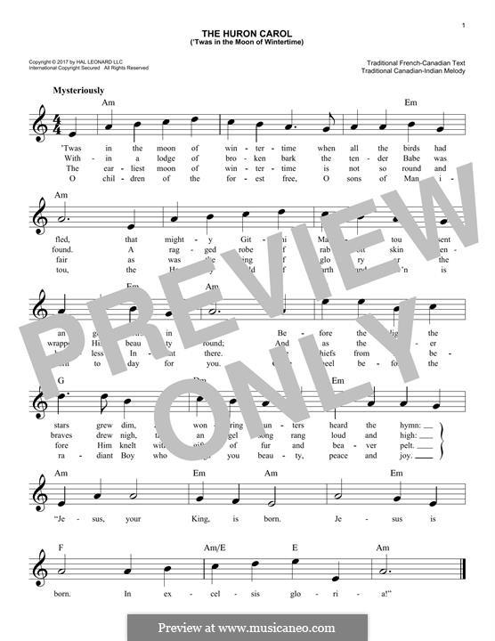 The Huron Carol: Melodische Linie by folklore