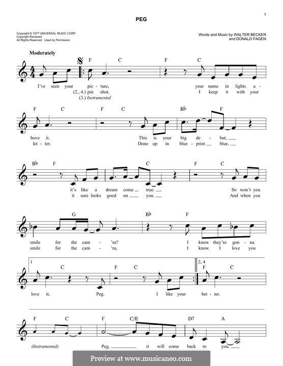 Peg (Steely Dan): Melodische Linie by Donald Fagen, Walter Becker