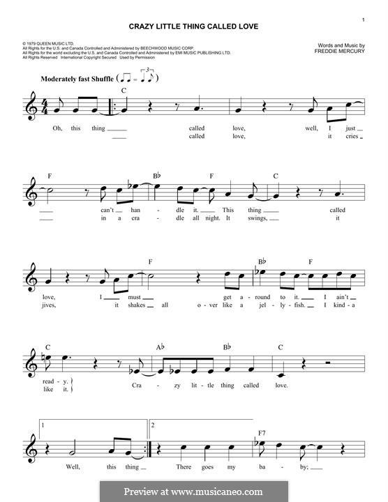 Crazy Little Thing Called Love (Queen): Melodische Linie by Freddie Mercury
