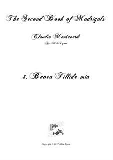Heft 2 (für fünf Stimmen), SV 40–59: No.3 Bevea Fillidae Mia. Arrangement for quintet instruments by Claudio Monteverdi